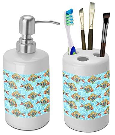 Great Mosaic Fish Bathroom Accessories Set (Ceramic) (Personalized)