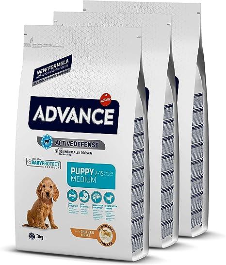 ADVANCE Puppy Medium - Pienso Para Cachorros De Razas Medianas Con Pollo - Pack De 3 x 3 kg - Total 9 kg