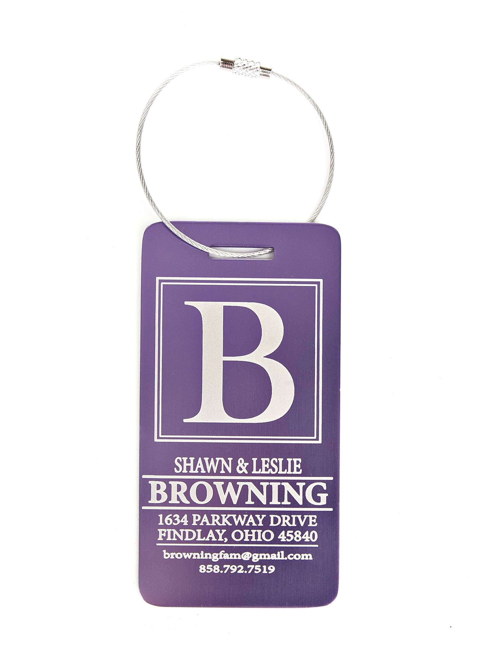 Personalized Luggage Tags Engraved Design - Elegant and Durable Travel Suitcase Name Tags (Lilac Browning Design, 1 Luggage Tag) by Qualtry