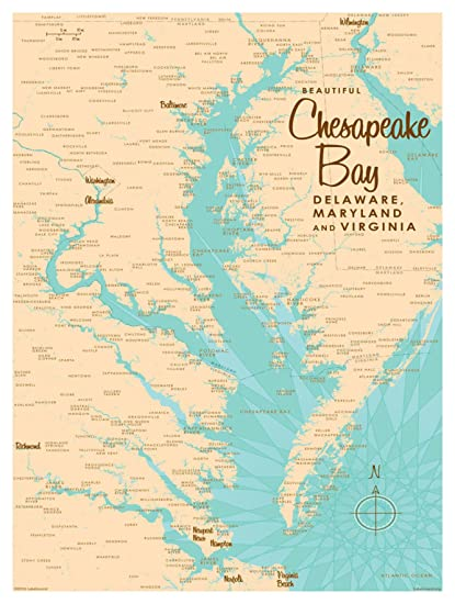 Chesapeake Bay On Map Of Usa.Amazon Com Chesapeake Bay Md Virginia Map Vintage Style Art Print