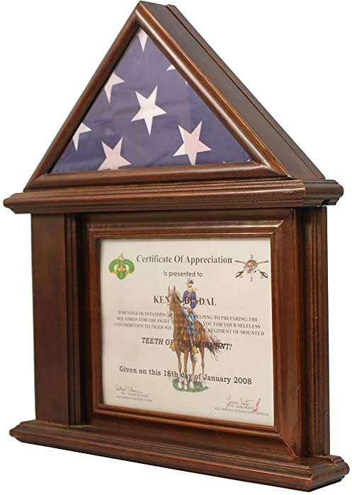 DECOMIL Flag Display Case with Certificate & Document Holder Frame