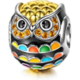 NinaQueen Charm -Wise as Owls- 925 Sterling Silver Gold Plated Animal Lovers Charms, Multicolor Enamel Bead, Perfect Christmas Gifts for Granddaughter