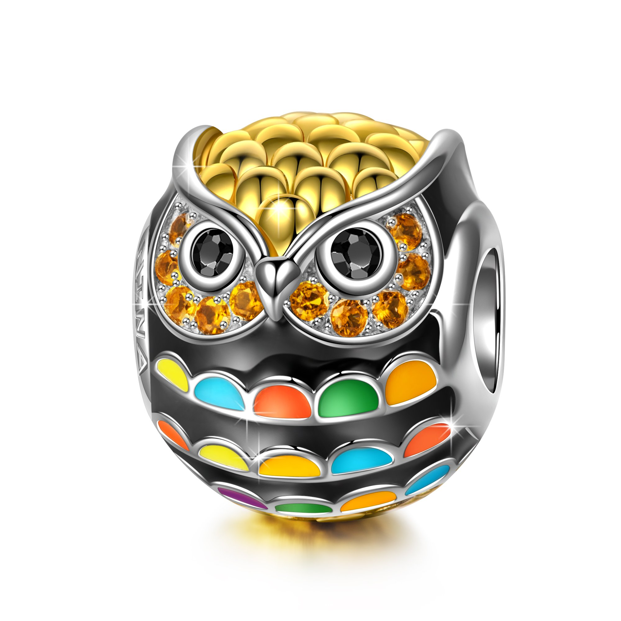 NinaQueen 925 Sterling Silver Pandöra Charms Owl Beads Gold Plated Multicolor Enamel Charm for Pandöra Bracelets Birthday Valentines Day Anniversary Jewelry Gifts for Teen Sisters Daughter by NINAQUEEN