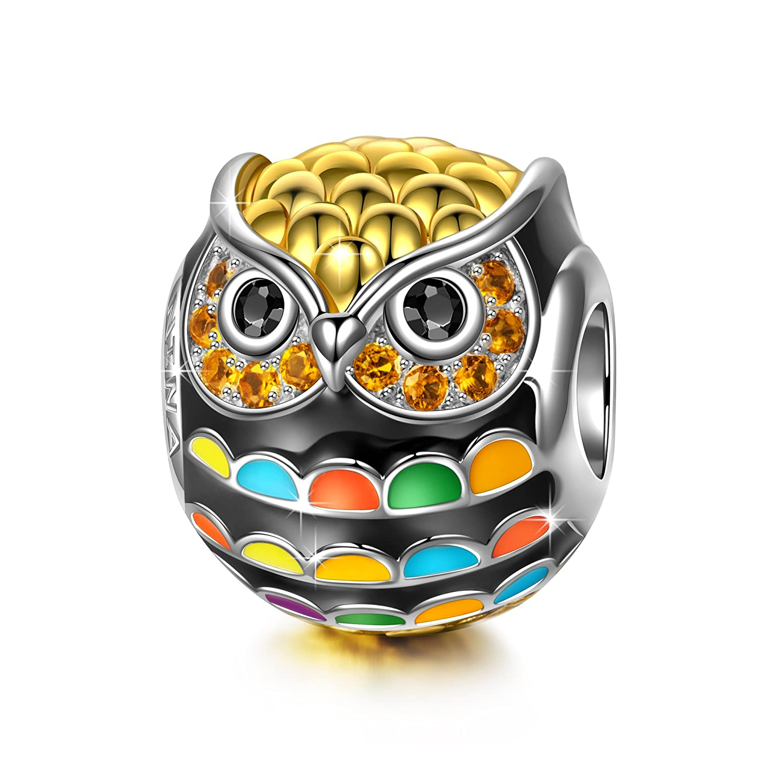 a91d8e528 NinaQueen Charm -Wise as Owls- 925 Sterling Silver Gold Plated Animal  Lovers Charms ♥with Freebie-B0199JSN1K and this Multicolor Enamel Bead in  Cart, ...