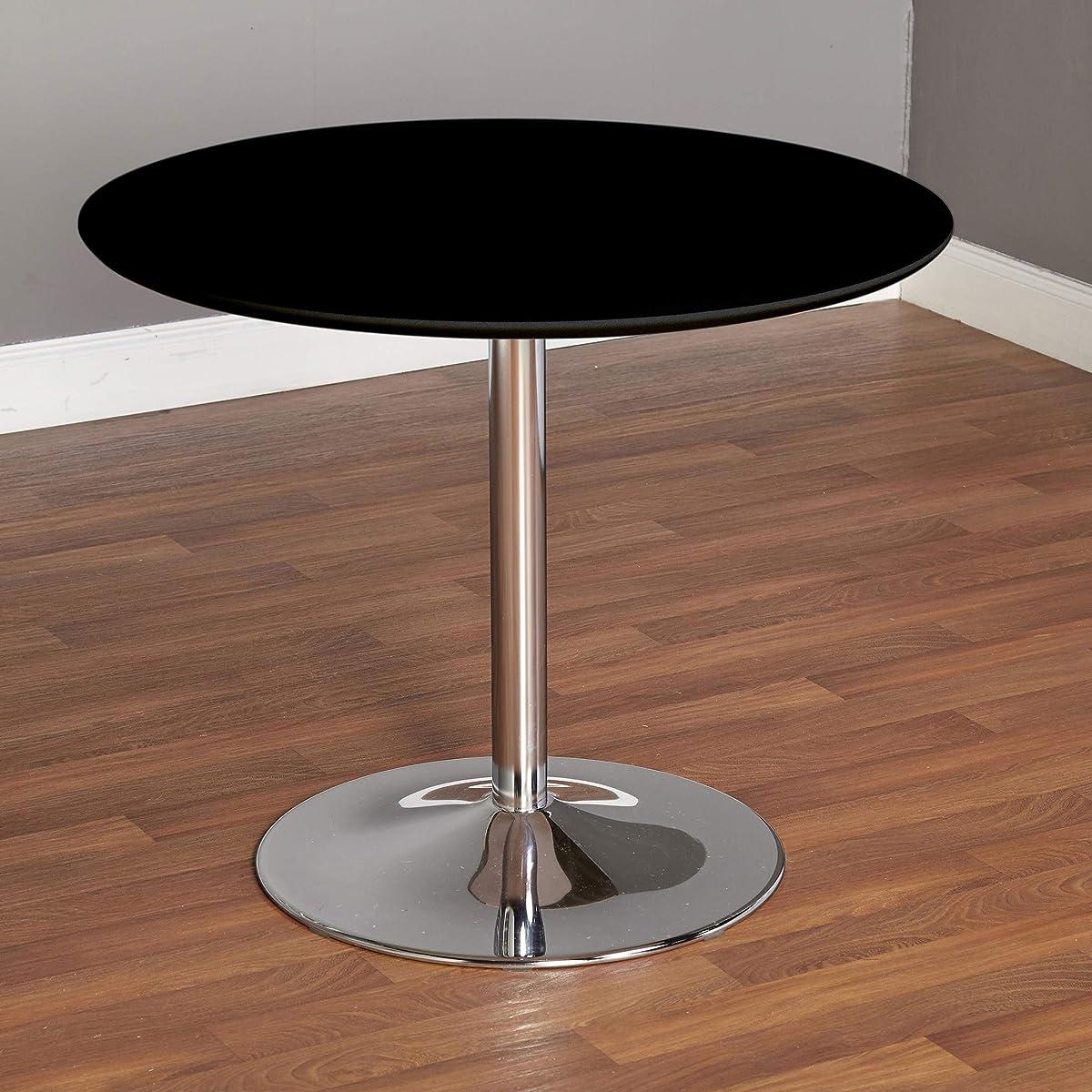 "TMS 89017BLK PISA Modern Retro Round Dining Table, 35.4"" W, Black"