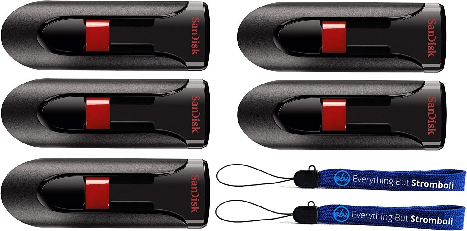 SanDisk Cruzer Glide 128GB Flash Drive (5 Pack) USB 2.0 Port Jump Drive Pen Drive (SDCZ60-128-B35) Bundle with (2) Everything But Stromboli Lanyards