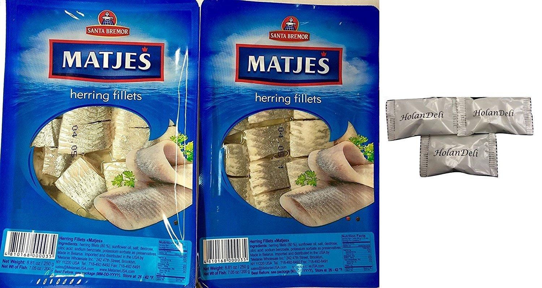 (Pack of 2) Imported Matjes Herring Fillets 8.8oz/250g. Includes Exclusive HolanDeli Chocolate Mints.