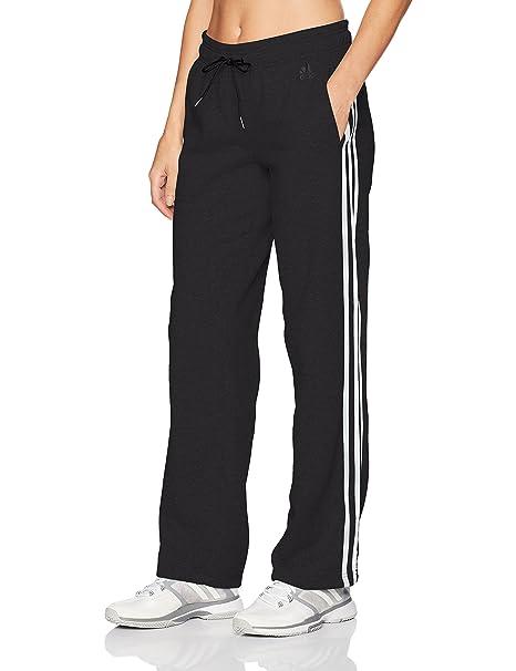 adidas Women's Athletics Essential Cotton Fleece 3 Stripe Open Hem Pant