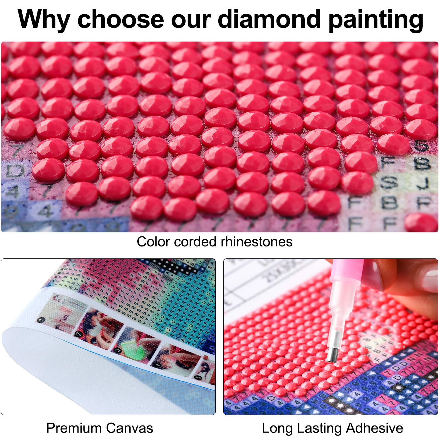 Full Round Drill Number Kits Diamond Rhinestone Painting DIY Romantic Star Positive Words Painting for Home Wall Decoration Crafts 2 Sets 5D Diamond Painting Kits 11.8 x 9.8 Inches