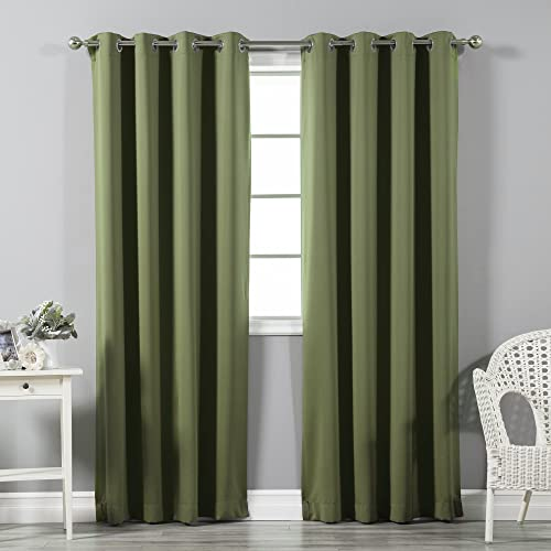 Best Home Fashion Blackout Curtain Panels – Premium Thermal Insulated Window Treatment Blackout Drapes for Bedroom – Silver Stainless Steel Grommet Top Olive – 52 W x 96 L – Set of 2 Panels