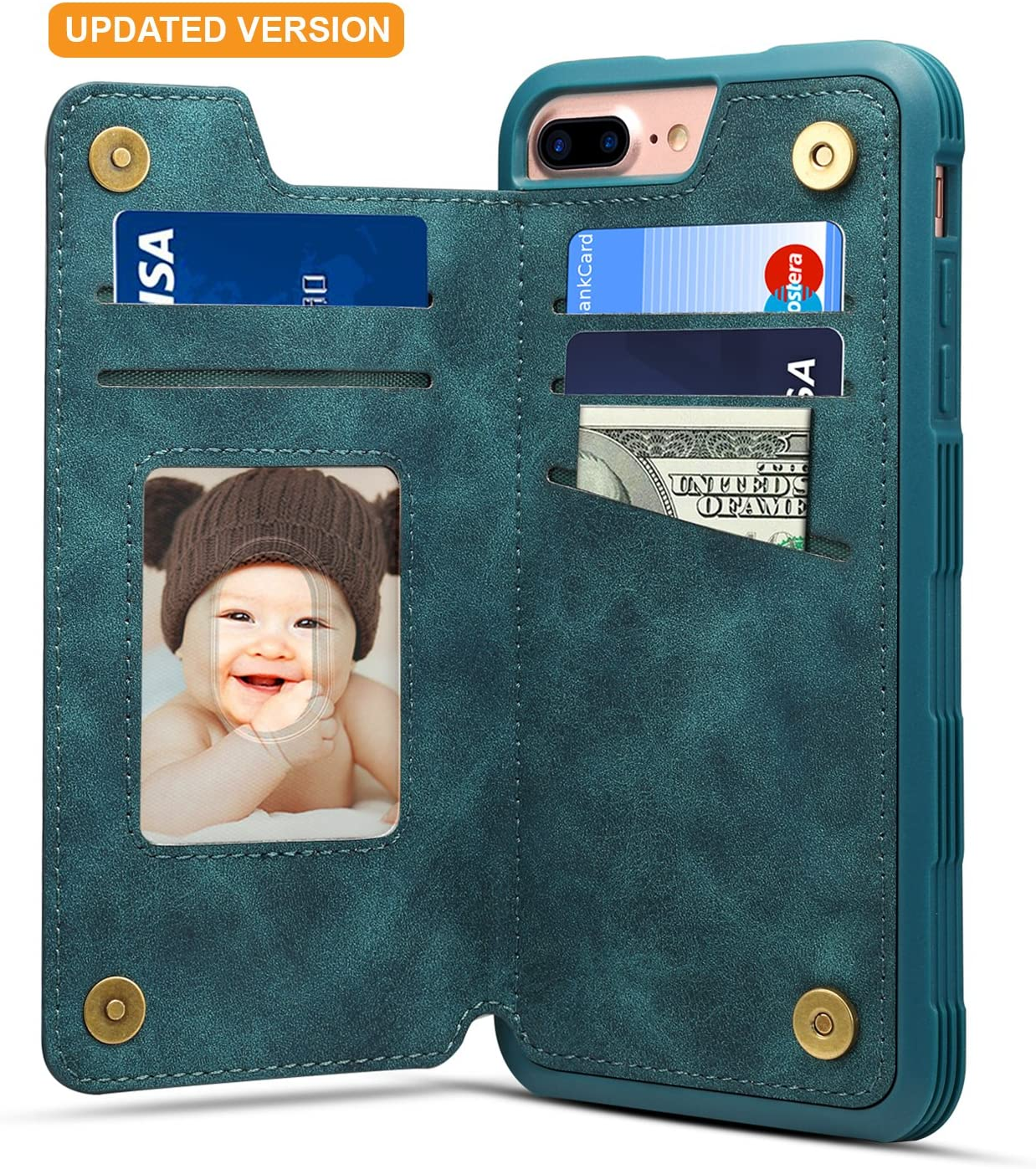 iPhone 8 Plus Card Holder Case iPhone 8 Plus Wallet Case Slim iPhone 8 Plus Folio Leather case cover Shockproof Case with Credit Card Slot Protective Case for iPhone 8 Plus and iPhone 7 Plus (Blue)