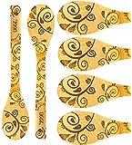 Neet Bamboo Wooden Cooking & Serving Utensils, kitchen utensils, 6 Piece Set (Paisley Pattern)