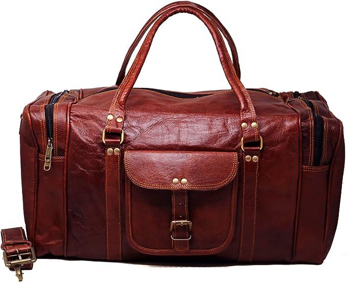 61 cm vintage Haute qualit/é Grand cuir fait /à la main sac /à bagages sac de voyage week-end pendant la nuit duffle Gym Sports Bag bagage /à main pour les hommes et les femmes