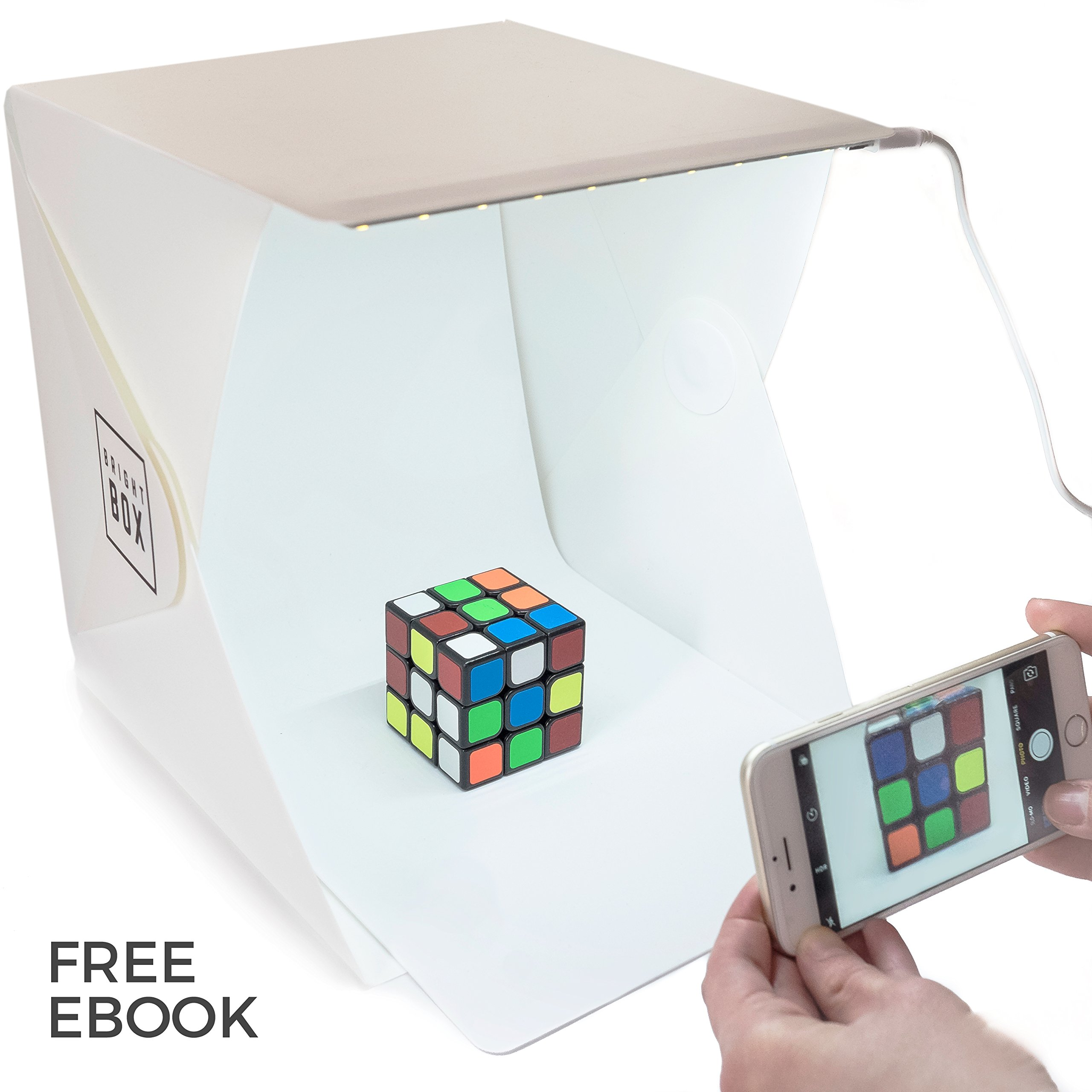 BrightBox Portable Mini Photo Studio With LED Light - The Best Small Folding Product Lighting Kit Light Box Tent (+ free ebook guide to product photography) by Gordon & Bond