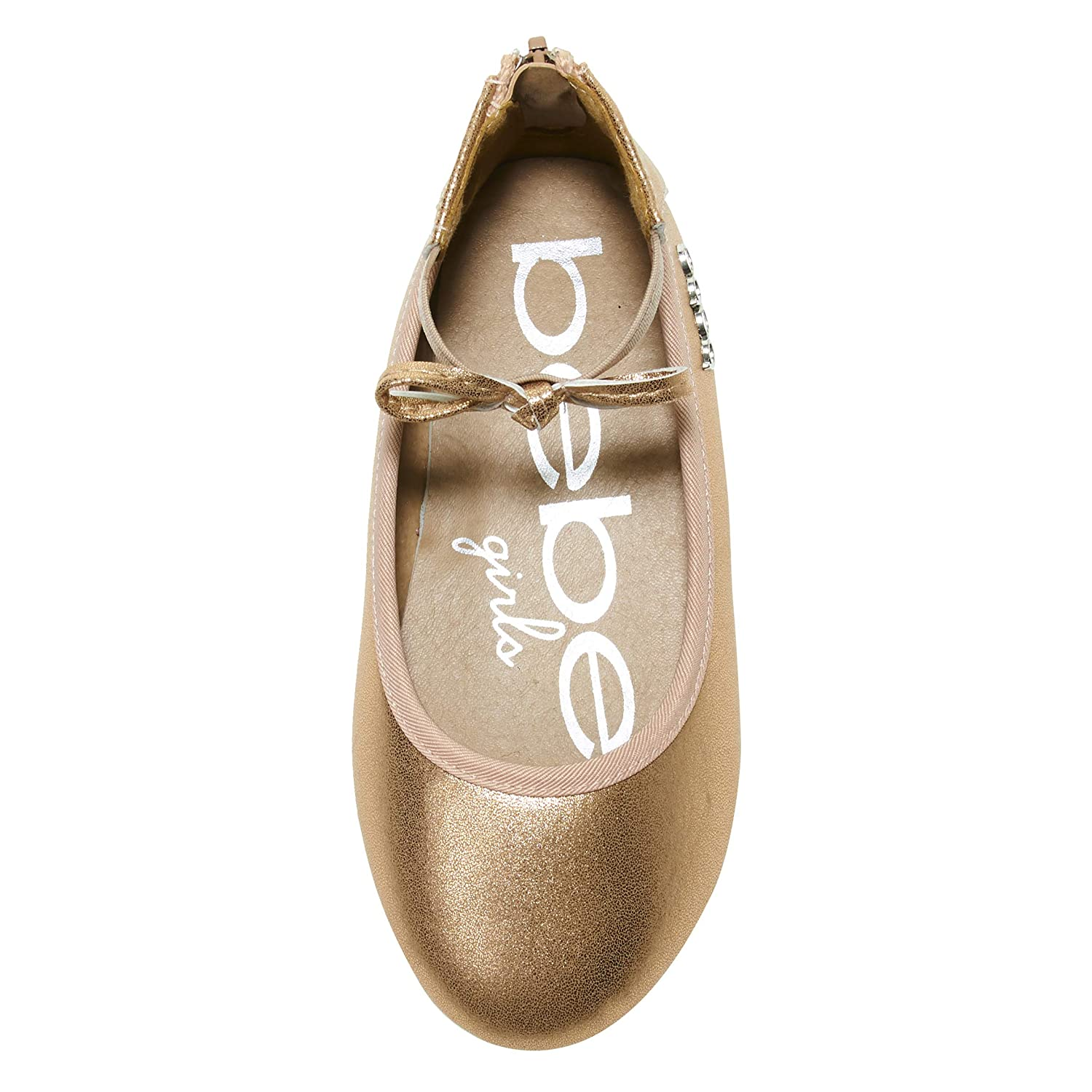 bebe Toddler Girls Ballet Flats with Elastic Ankle Strap Pearlized Bow