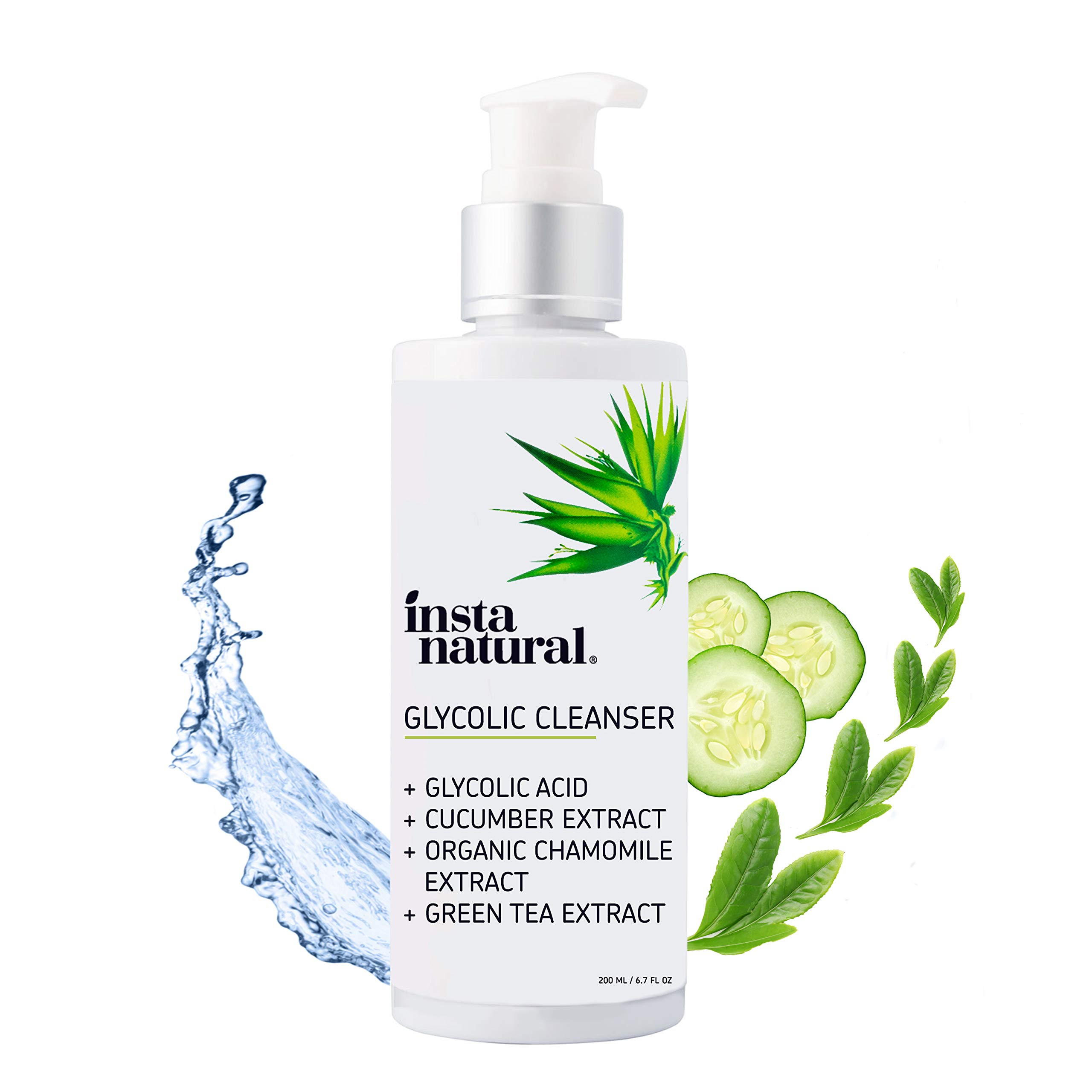 Glycolic Acid Facial Cleanser - Wrinkle, Fine Line, Age Spot, Acne & Hyperpigmentation Exfoliating Face Wash - Clear Skin & Pores - Glycolic, Organic Extract Blend & Arginine - InstaNatural - 6.7 oz by InstaNatural