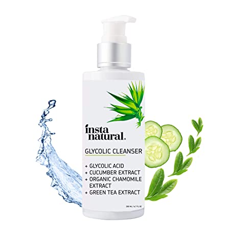 Glycolic Acid Facial Cleanser – Wrinkle, Fine Line, Age Spot, Acne Hyperpigmentation Exfoliating Face Wash – Clear Skin Pores – Glycolic, Organic Extract Blend Arginine – InstaNatural – 6.7 oz