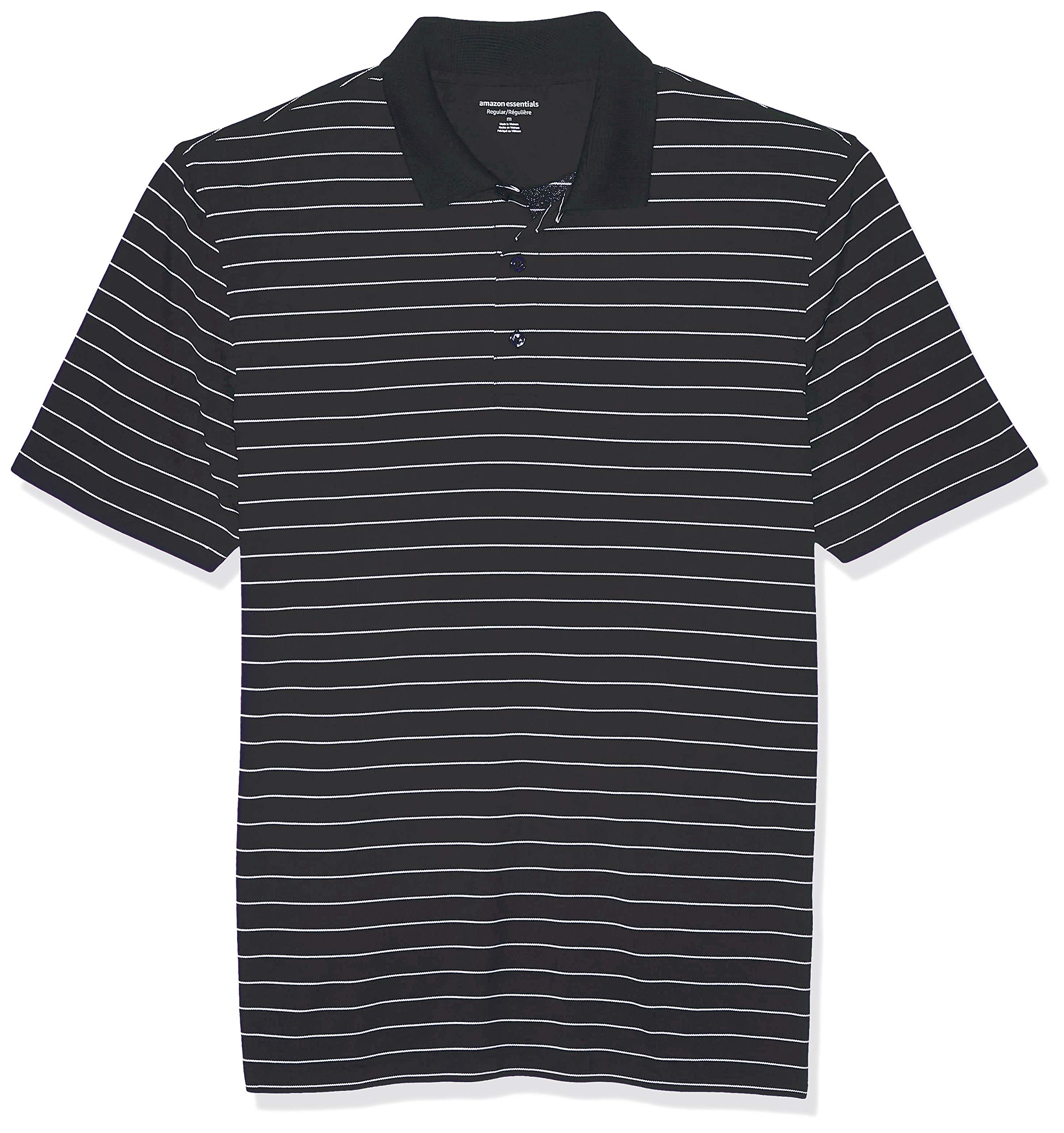 Amazon Essentials Men's Regular-Fit Quick-Dry Golf Polo Shirt, Black Stripe, Small by Amazon Essentials