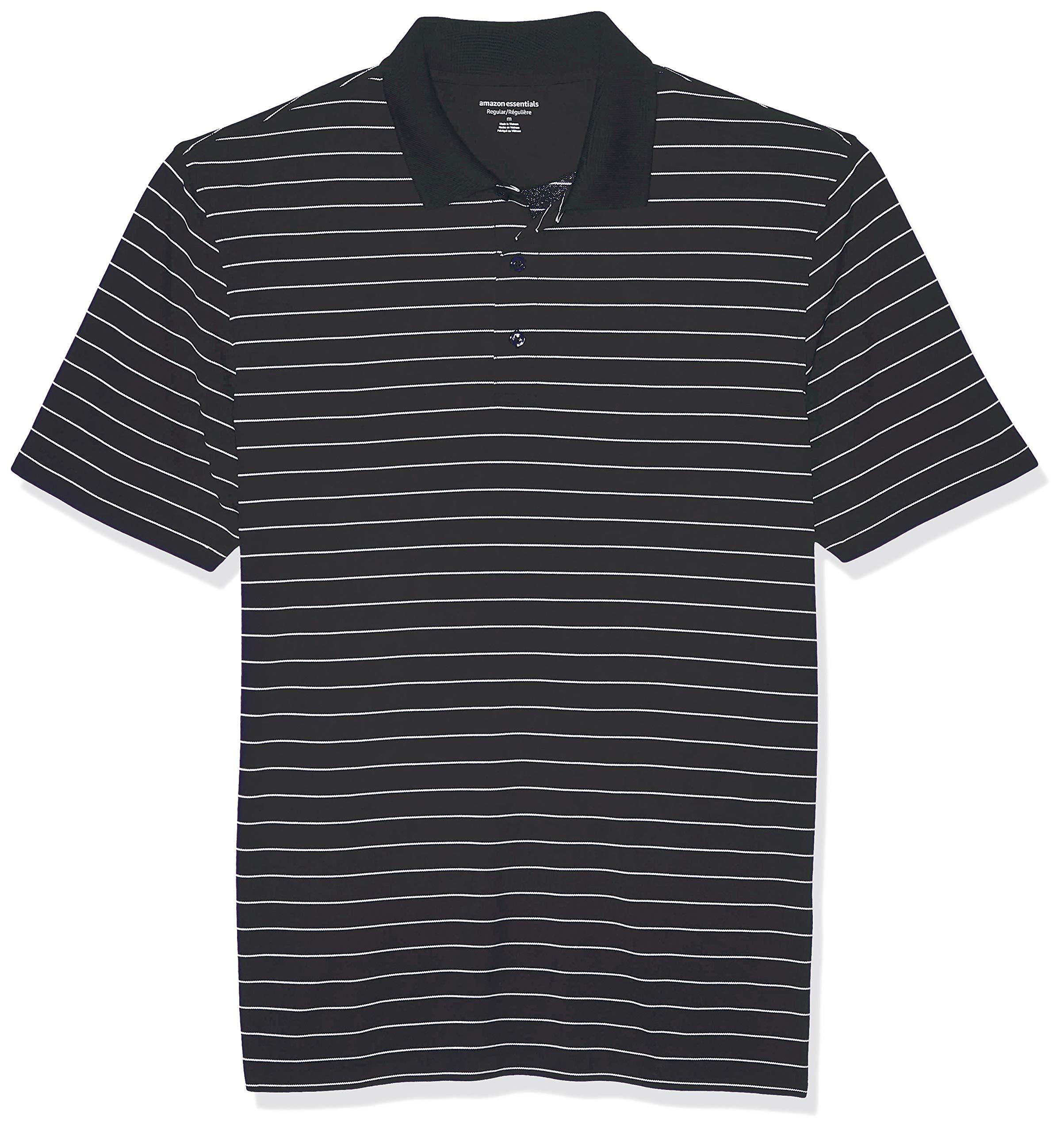 Amazon Essentials Men's Regular-Fit Quick-Dry Golf Polo Shirt, Black Stripe, X-Small