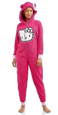 02fa18135 Womens Hello Kitty Hot Pink Drop Seat Union Suit 1 pc Pajama Set (Medium)
