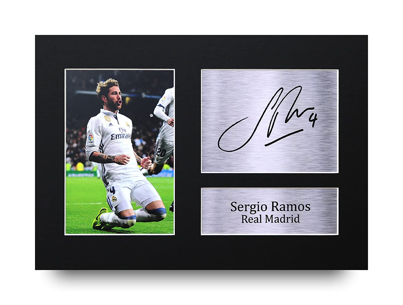 Sergio Ramos firmato A4stampato Autograph Real Madrid stampa foto immagine display–Great gift idea HWC Trading