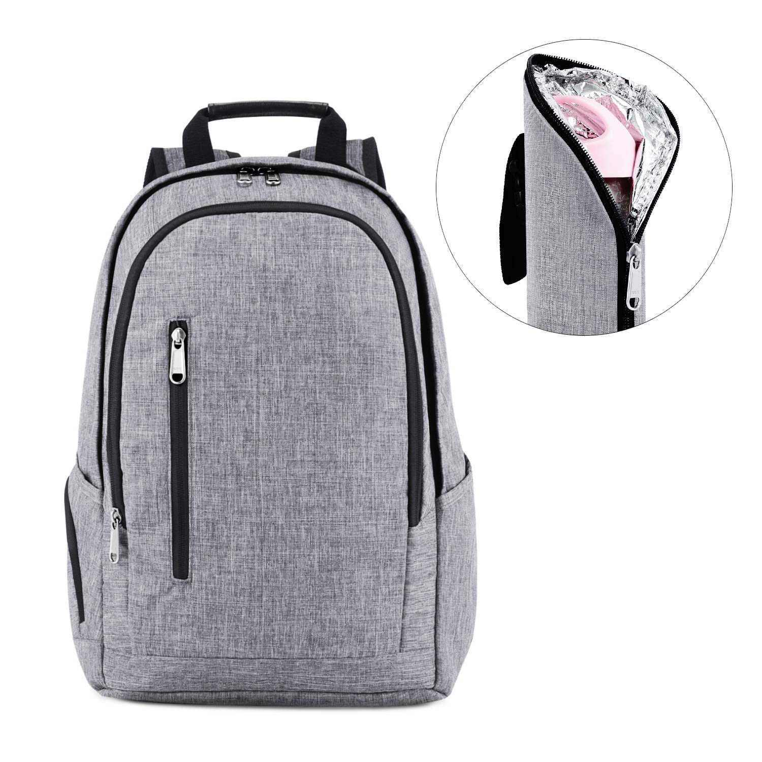 Kattee Diaper Backpack Multipocket Nappy Bag with Changing Pad & Insulated Bottle Holder