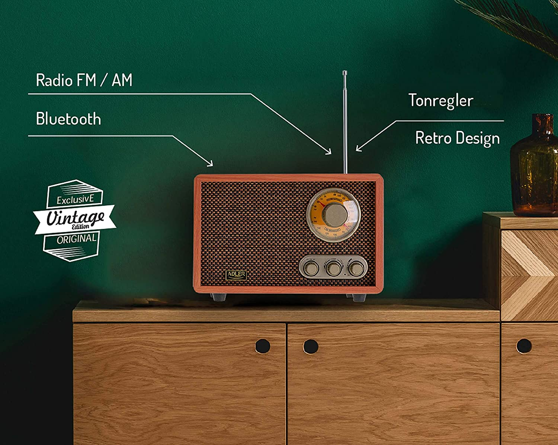 FM//AM 10W RMS Radio con Bluetooth y antena telesc/ópica Adler AD 1171 Retro