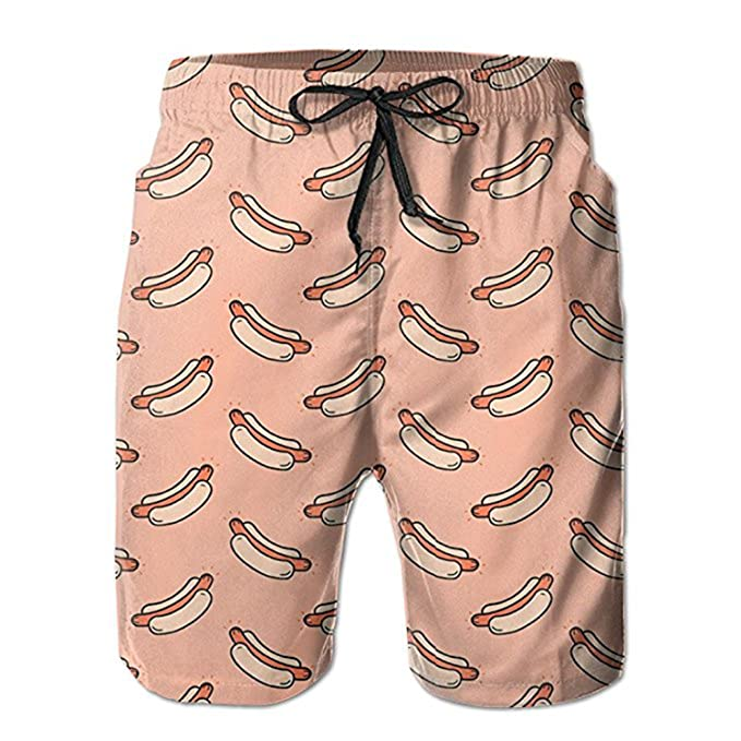 b4589edd041 Image Unavailable. Image not available for. Color: ZMvise Pizza Hot Dog Swim  Trunks Quick Dry Beach Board Home Water Sports Men's Shorts