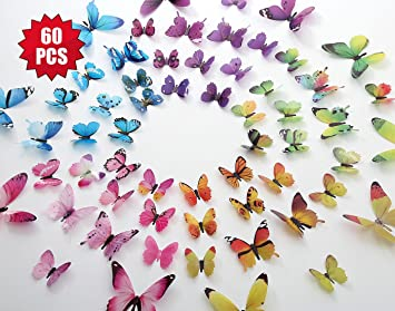 Eoorau 60PCS Butterfly Wall Decals For Wall 3D Butterflies Wall Decor  Removable Mural Stickers Home