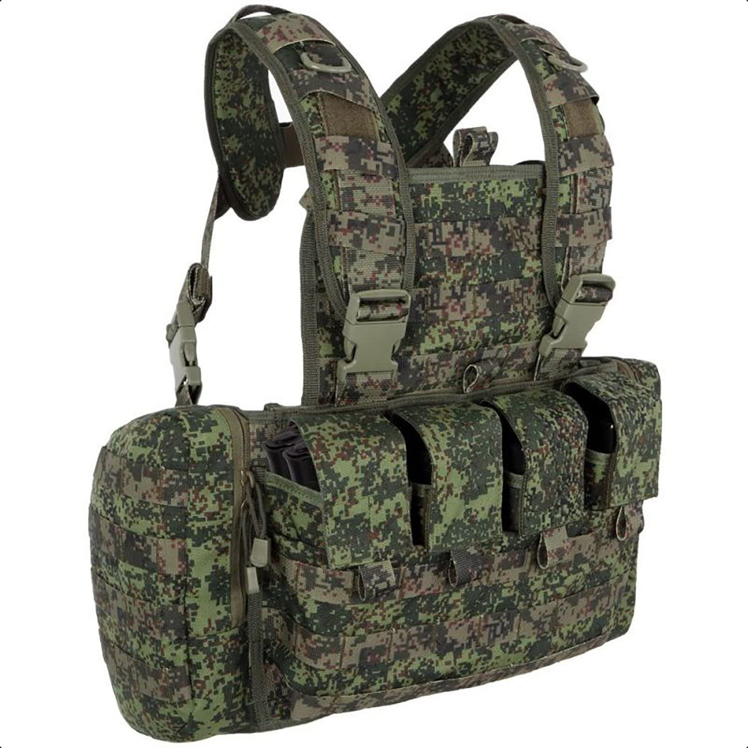 Image of a tactical chest rig in military colors, buckle closures and multiple pockets seen on front.