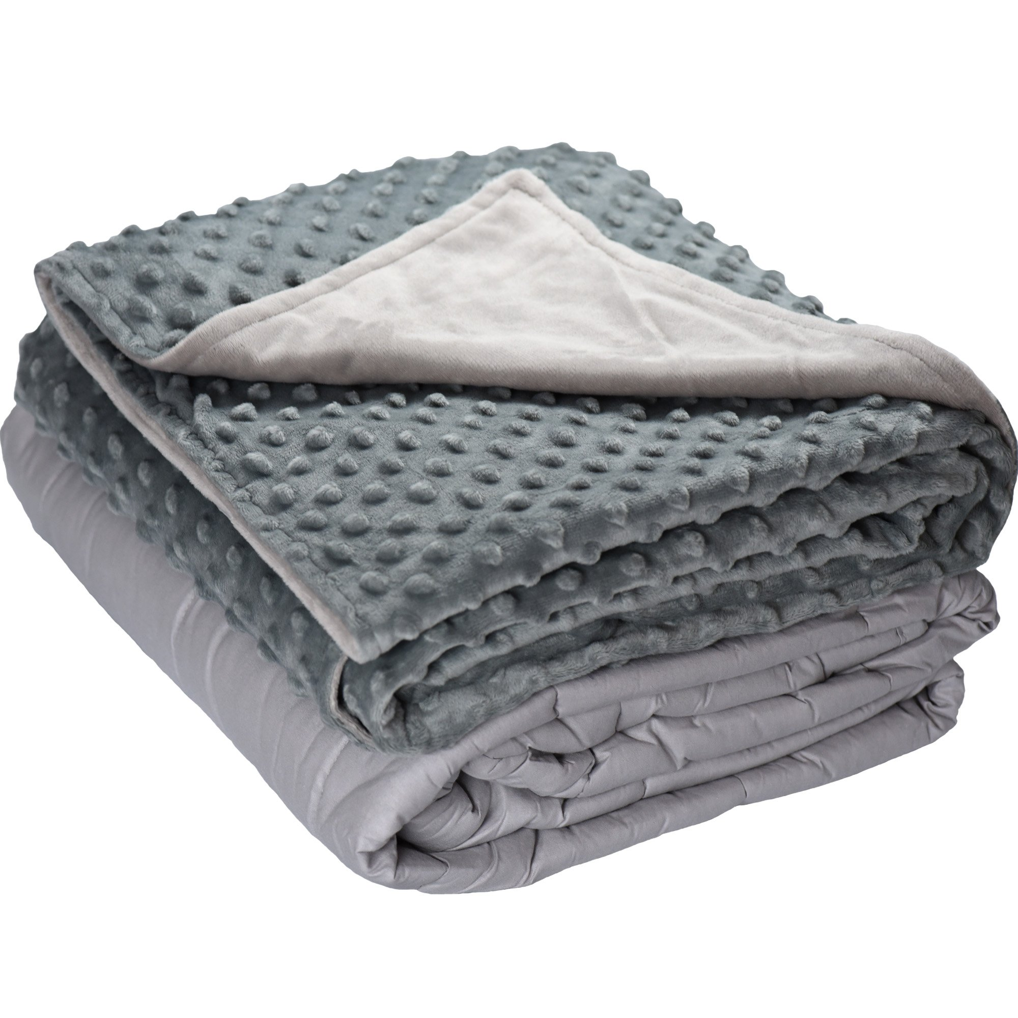 5lb Weighted Blanket with Dot Minky Cover for Kids 40-60lb individual.Help Children with Sleep Issues Anxiety Autism Stress (Inner Light Gray/Cover Gray & Light Gray, 36''x48'' 5 lbs)