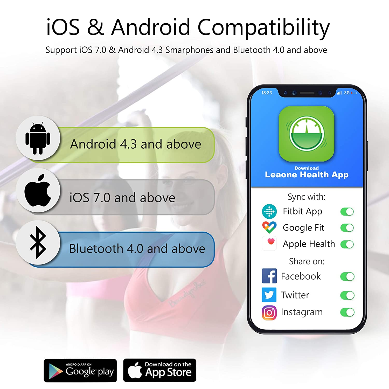 Leaone Báscula de grasa corporal con Bluetooth,báscula de peso inalámbrica, analizador de composición corporal con aplicación para smartphone, ...