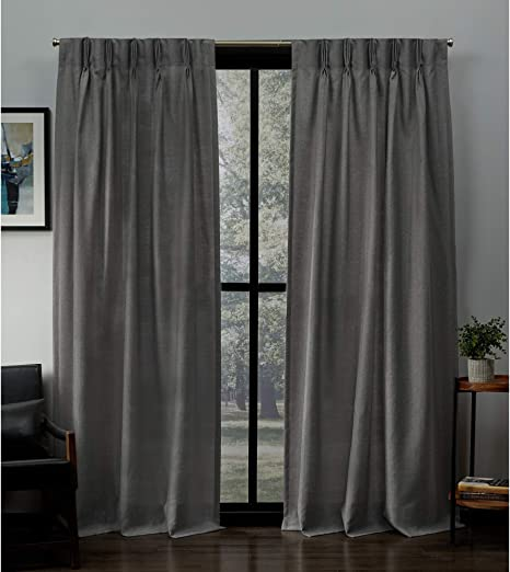 Amazon Com Exclusive Home Curtains Loha Linen Pinch Pleat Curtain Panel Pair 84 Length Black Pearl Home Kitchen