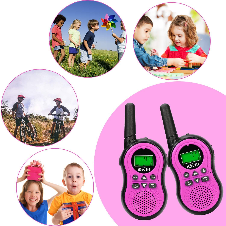 Koviti Kids Walkie Talkies 2 Way Radio 22 Channel Range Up to 3Miles UHF Walky Talkies Interphone Toy Gift for Kids (Pink,2 Pack) by Koviti (Image #7)