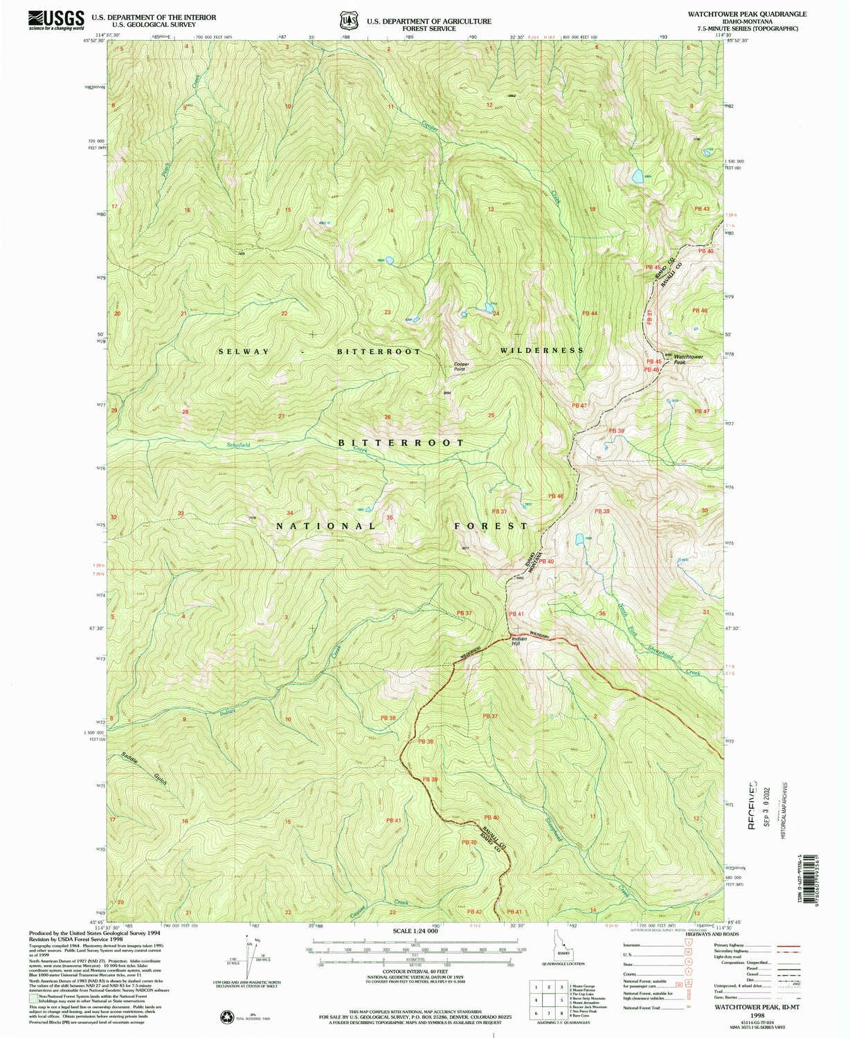 Polypropylene Watchtower Peak ID topo map, 1 24000 Scale, 7.5 X 7.5 Minute, Historical, 1998, Updated 2002, 26.8 x 22 in