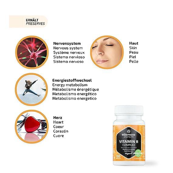 Vitamaze® Vitamina B Complex con 180 tabletas veganas de dosis ...