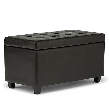 Simpli Home Cosmopolitan Faux Leather Rectangular Storage Ottoman Bench,  Brown