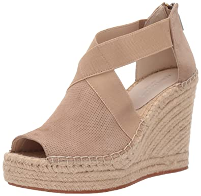 807d59e778 Kenneth Cole New York Women's Olivia 2 Perf Stretch Espadrille Wedge  Sandal, Almond 8.5 M