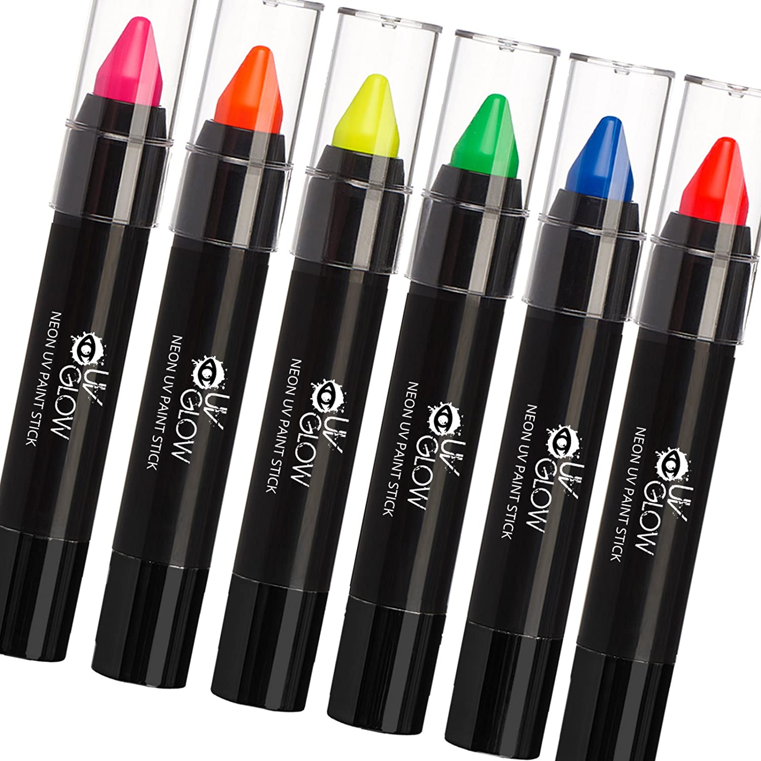 UV Glow - Neon UV Paint Stick / Face & Body Crayon - Set of 6 Colours. Genuine and original UV Glow product - glows brightly under UV Light! MPPST30