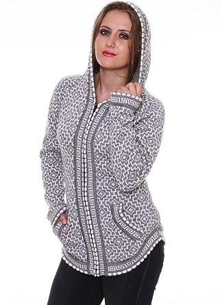 67534cc18f3e Gamboa - Gray Alpaca Sweater - Women - Hooded - Andean Cross at ...