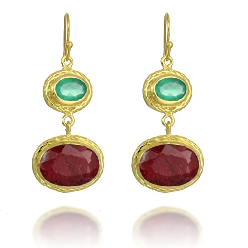18K Gold-Plated Rims Oval Shape Synthetic Gemstone Dangle Earrings