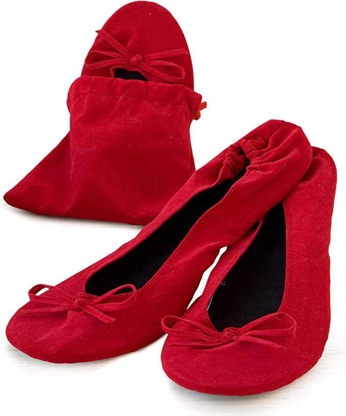 Mopec Zapatillas Bailarinas de Terciopelo Rojo con Bolsa Talla M ...