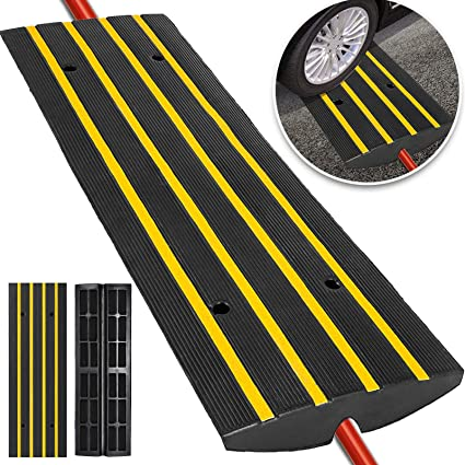 Happybuy Car Driveway Rubber Curb Ramps Heavy Duty 22000lbs Capacity  Threshold Ramp 2 5 Inch High Cable Cover Curbside Bridge Ramp for Loading  Dock