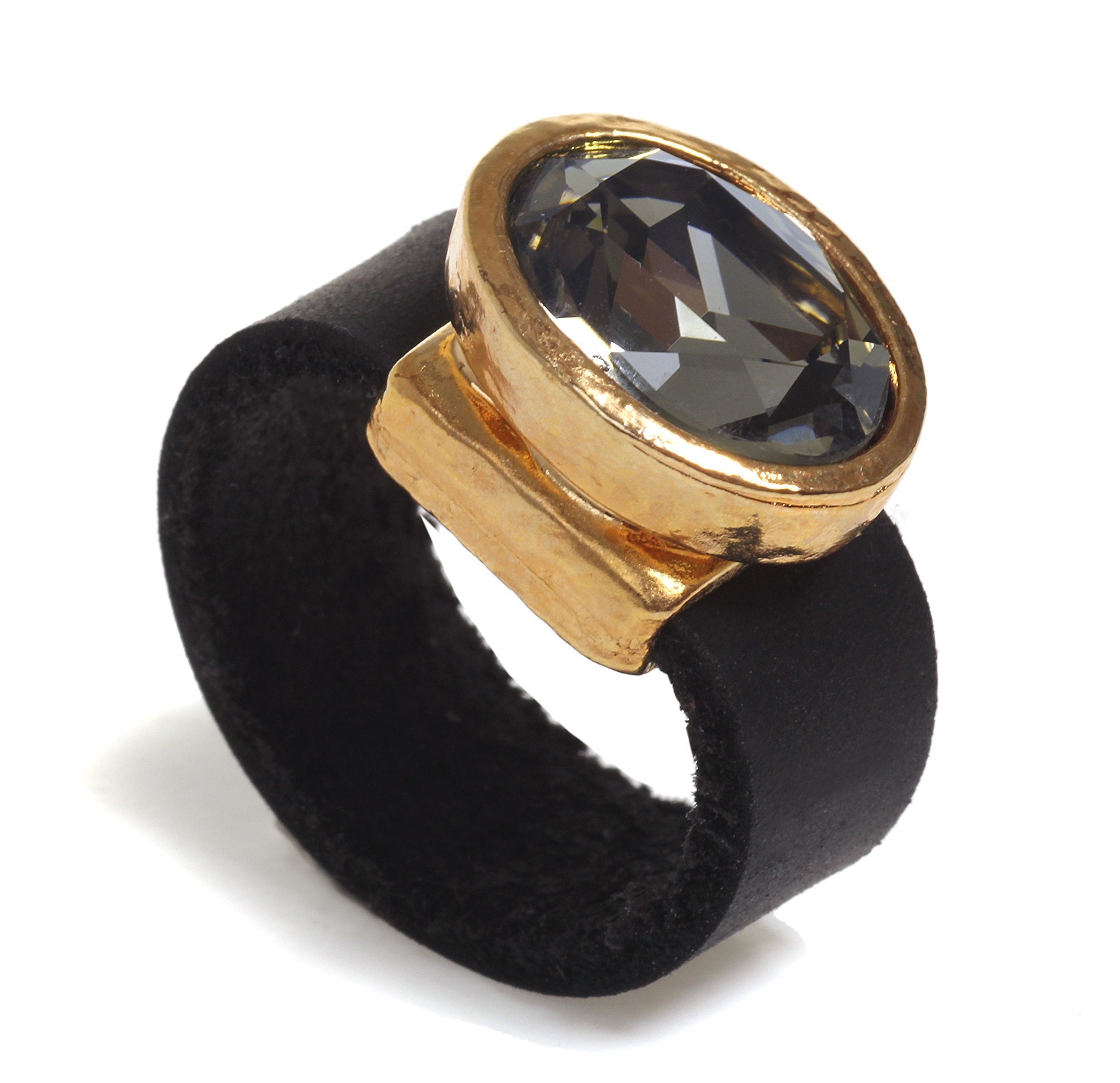 SEA Smadar Designed Black Diamond Swaroski Crystal, Black Leather And 24k Gold Plated Oval Eyecatcher Ring