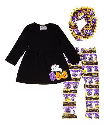 20f62a581 Toddler Little Girls Halloween Boo Ghost Pom Pom Leggings Scarf Set 2T/XS