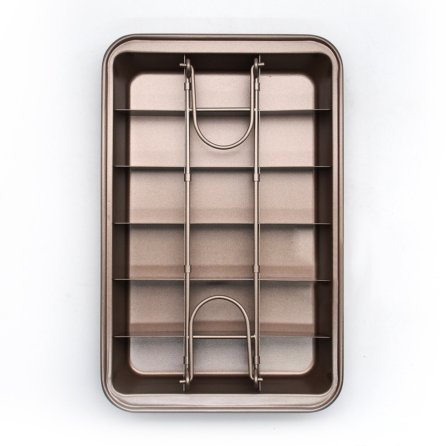 Non Stick Brownie Pans with Dividers, Diveded Brownie Pan All Edges, 8 inch by 12 inch by SUJUDE