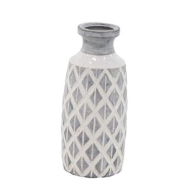 Deco 79 85139 Ceramic Vase, Gray/White