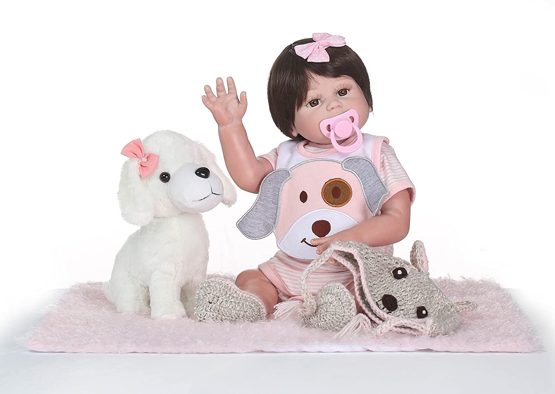 Funny House 20インチ50センチメートル 柔らかい 全ビニルシリコーンリボーン人形解剖学的に正確クリスマスギフト子供のおもち ピンクの犬の服年齢3 +   B07DK7J21X