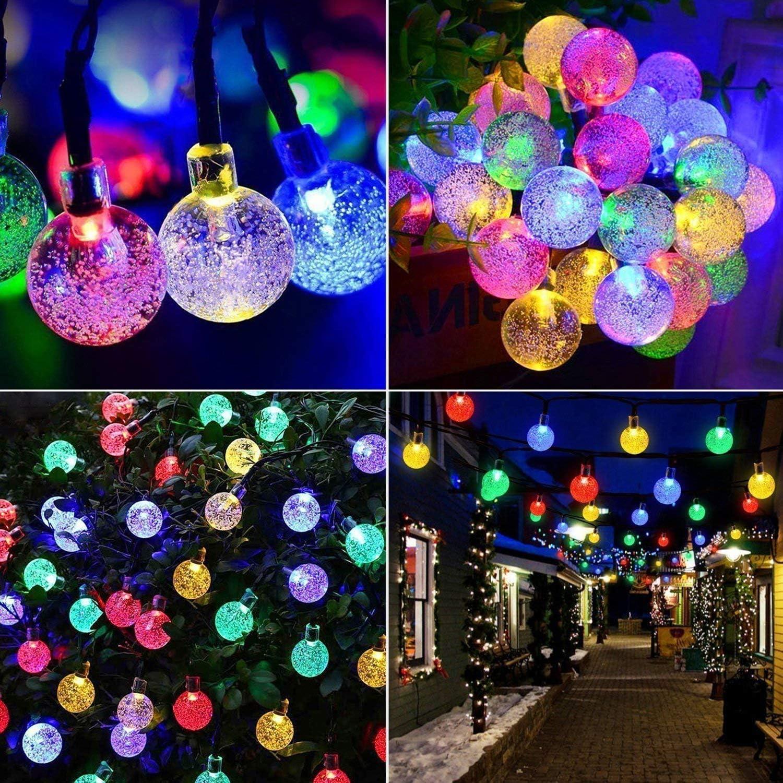 Weihnachten Mr.Twinklelight Au/ßerlichterkette Deko f/ür Garten Terrasse Innen und au/ßen LED Solar Lichterkette Kristall Kugeln 4.5 Meter 30er Warmwei/ß Hochzeiten B/äume Partys