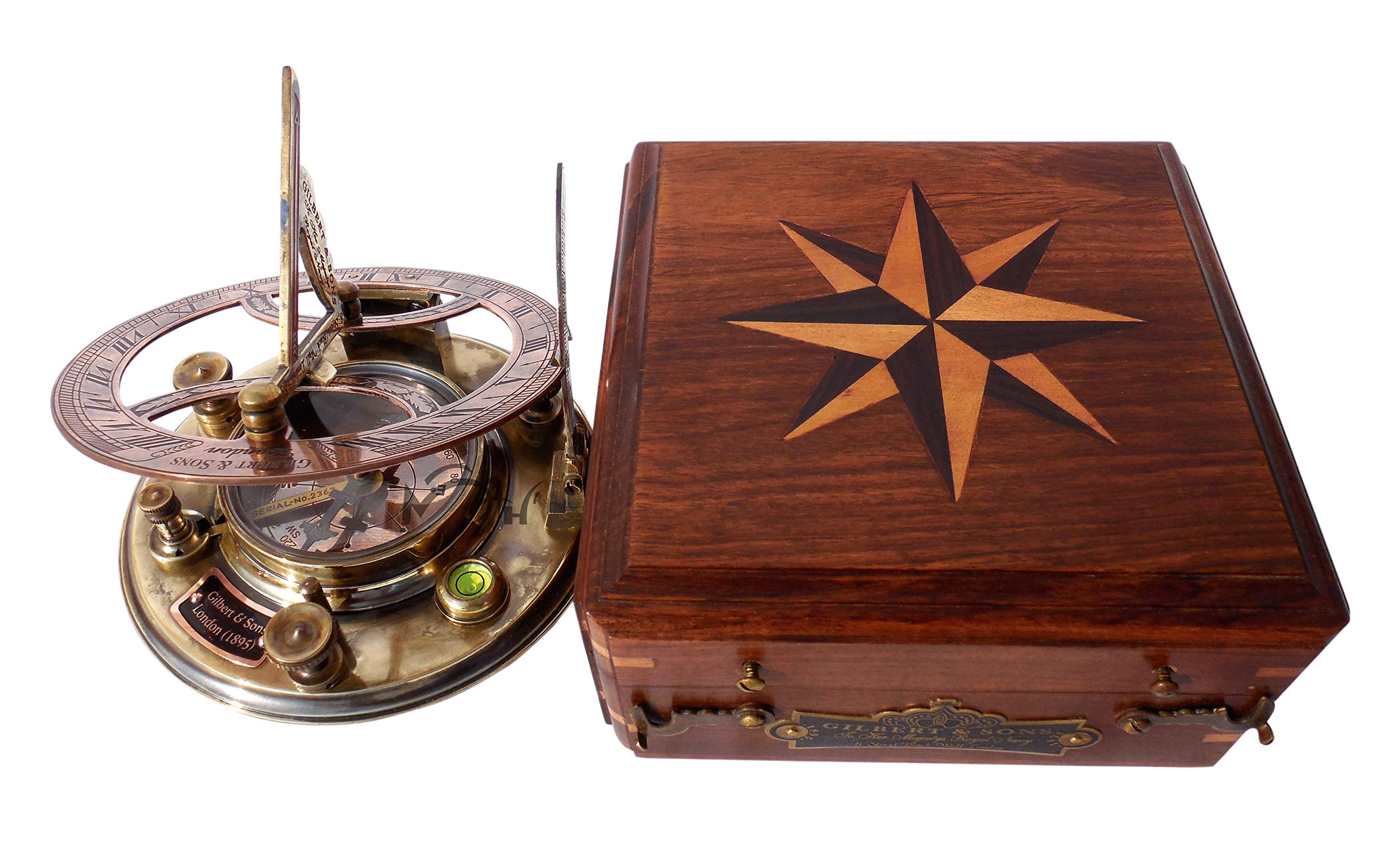MAH Top Grade 5 Inch Perfectly Calibrated Large Sundial Compass with Wooden Box. C-3050 by MAH